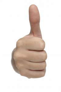 Male hand sign with thumb up